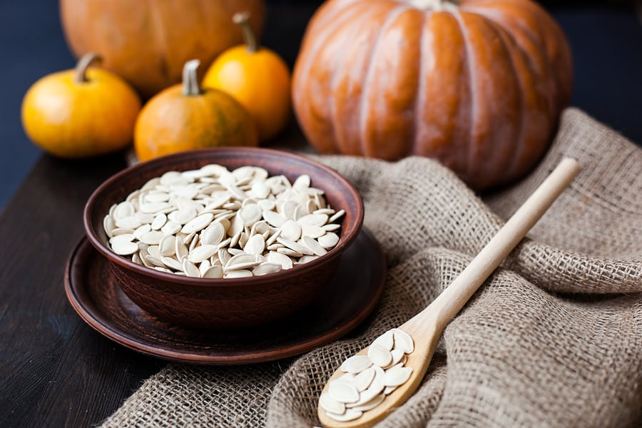 Turn your Halloween pumpkins into Healthy Roasted Pumpkin Seeds with this recipe!
